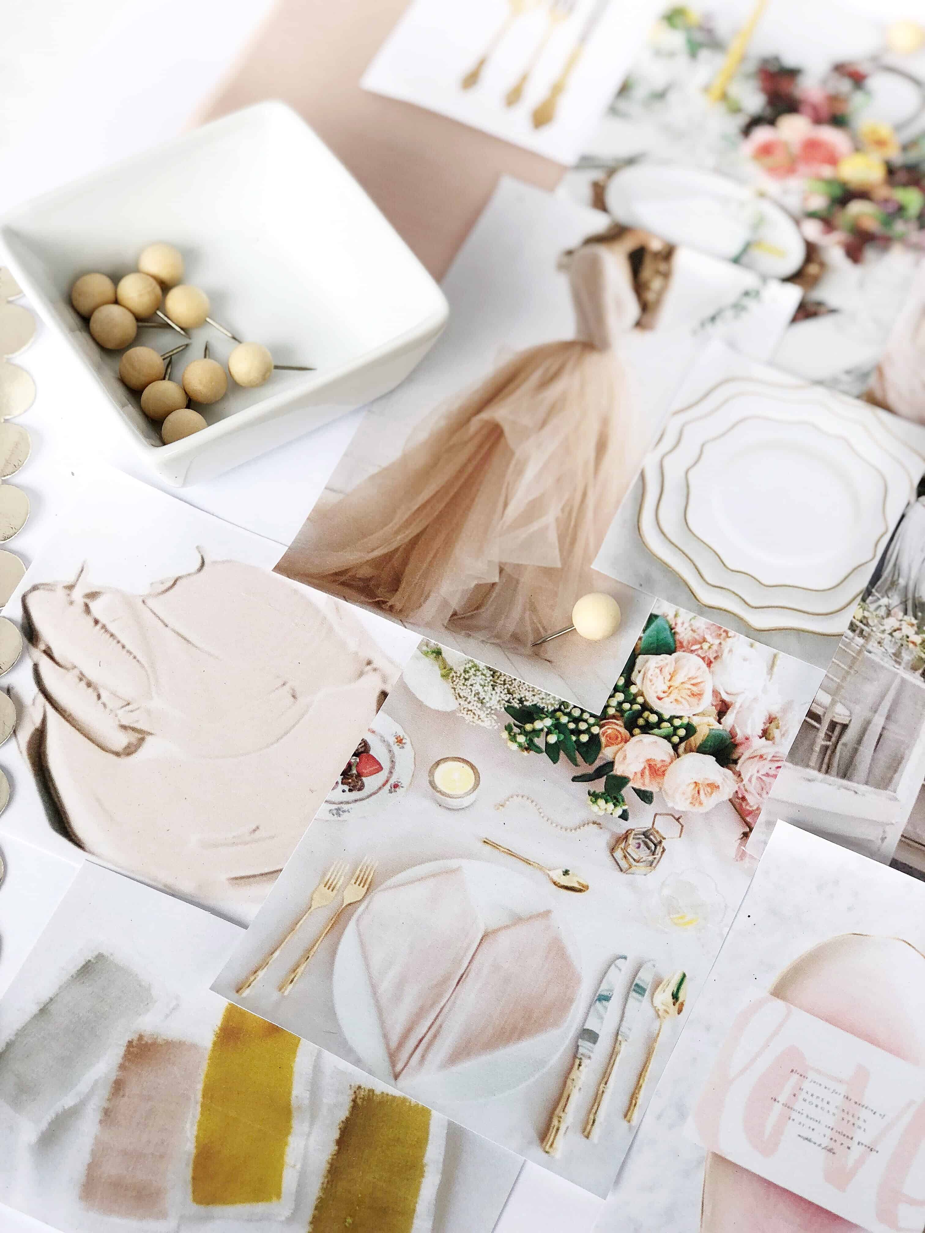Blush Grey Mustard Gold Wedding Mood Board