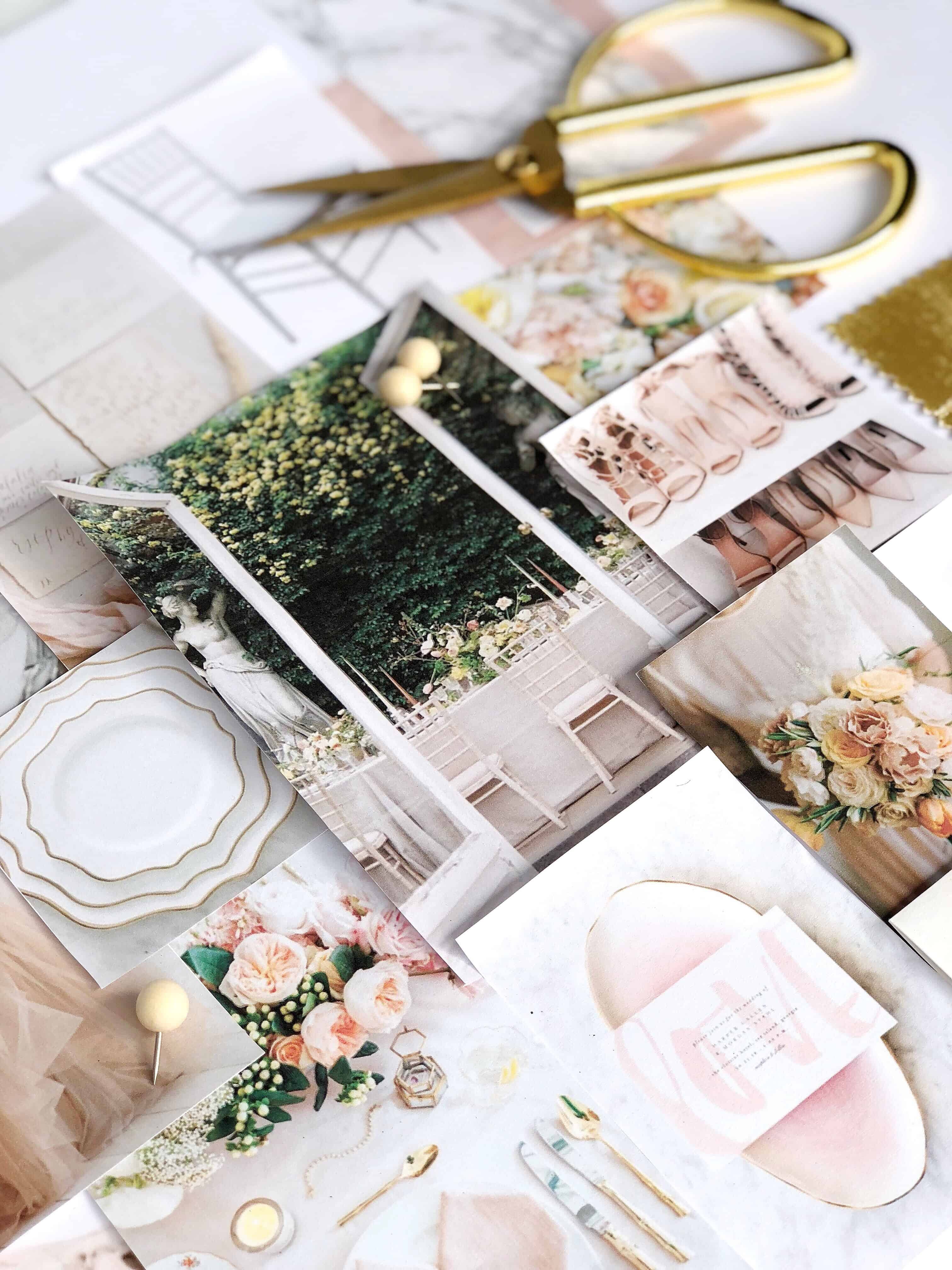 Blush Mustard Grey Gold Wedding Mood Board