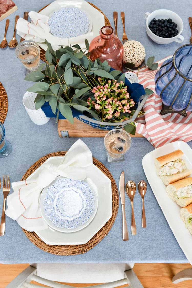 Rosé, White and Blue Fourth of July Tablescape Inspiration