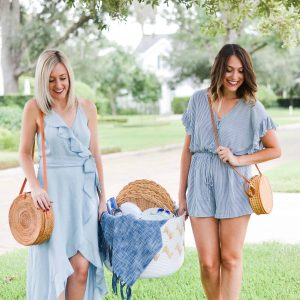 labor day outfits, labor day fashion favorites,blue linen romper, ruffled chambray wrap dress, bloomingdales womens outfits