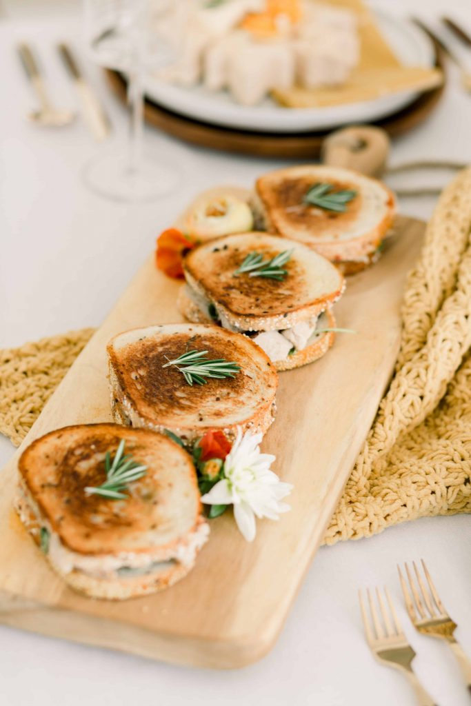 Thanksgiving grilled turkey sandwiches with cranberry sauce for friendsgiving