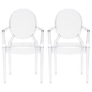 set of two clear ghost chairs