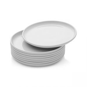 set of crate & barrel white stacked dinner plates