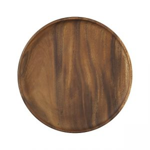 "12"" round wood platter or wood charger plate"