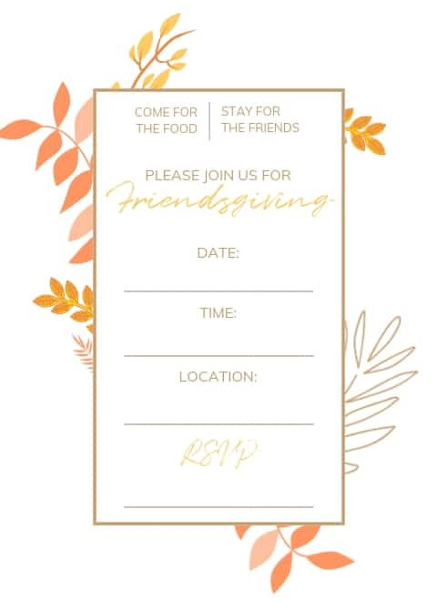 fall colored leaves friendsgiving invitation