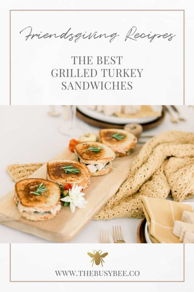 grilled turkey sandwiches for thanksgiving on wooden cutting board