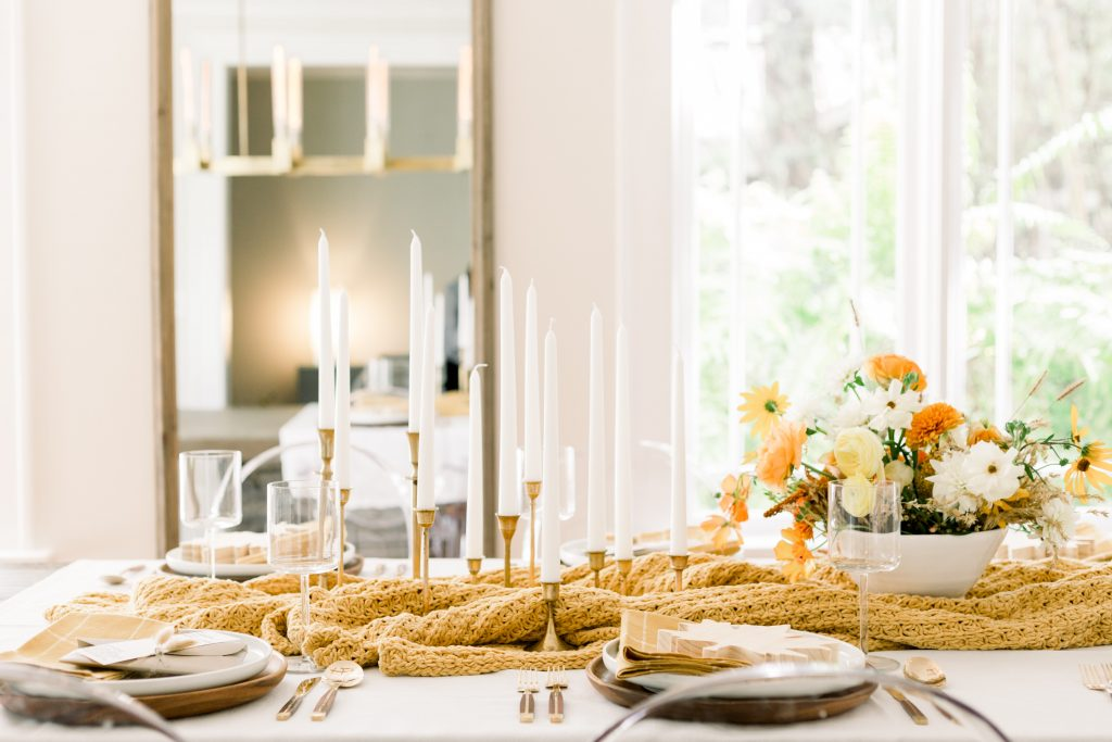 bright dining room with thanksgiving tablescape