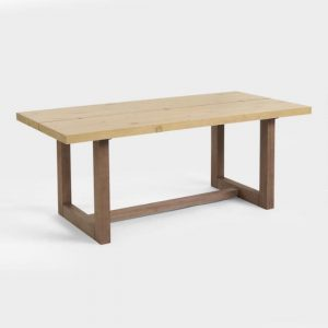 two tone rectangular wood dining table