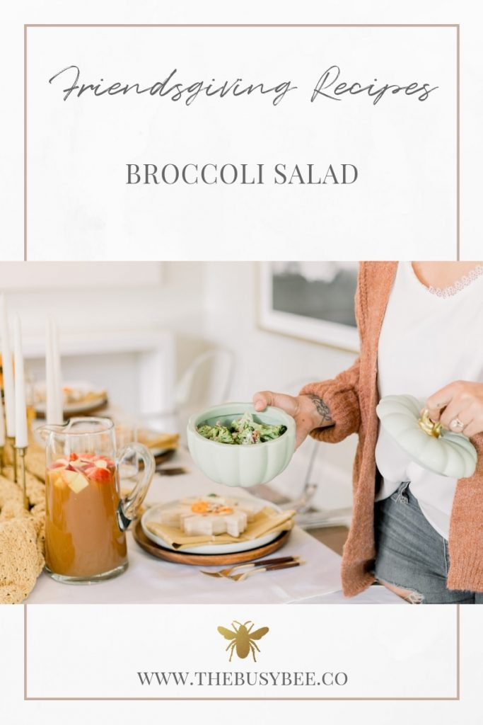 brunette woman serving broccoli salad in green pumpkin dish