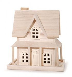 Darice 9190-115 Wood House for Craftwork, 7.8 by 5.1 by 9.25-Inch