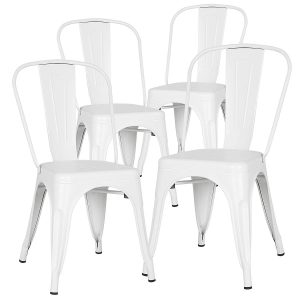 farmhouse industrial white metal chairs
