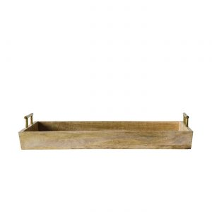 Decorative Tray Wooden with Gold Handles