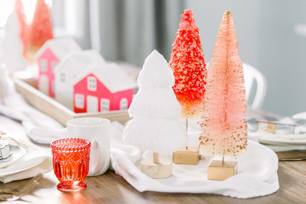 pink white and red christmas themed tablescape