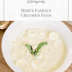 christmas morning creamed eggs recipe card featuring white bowl of creamed eggs