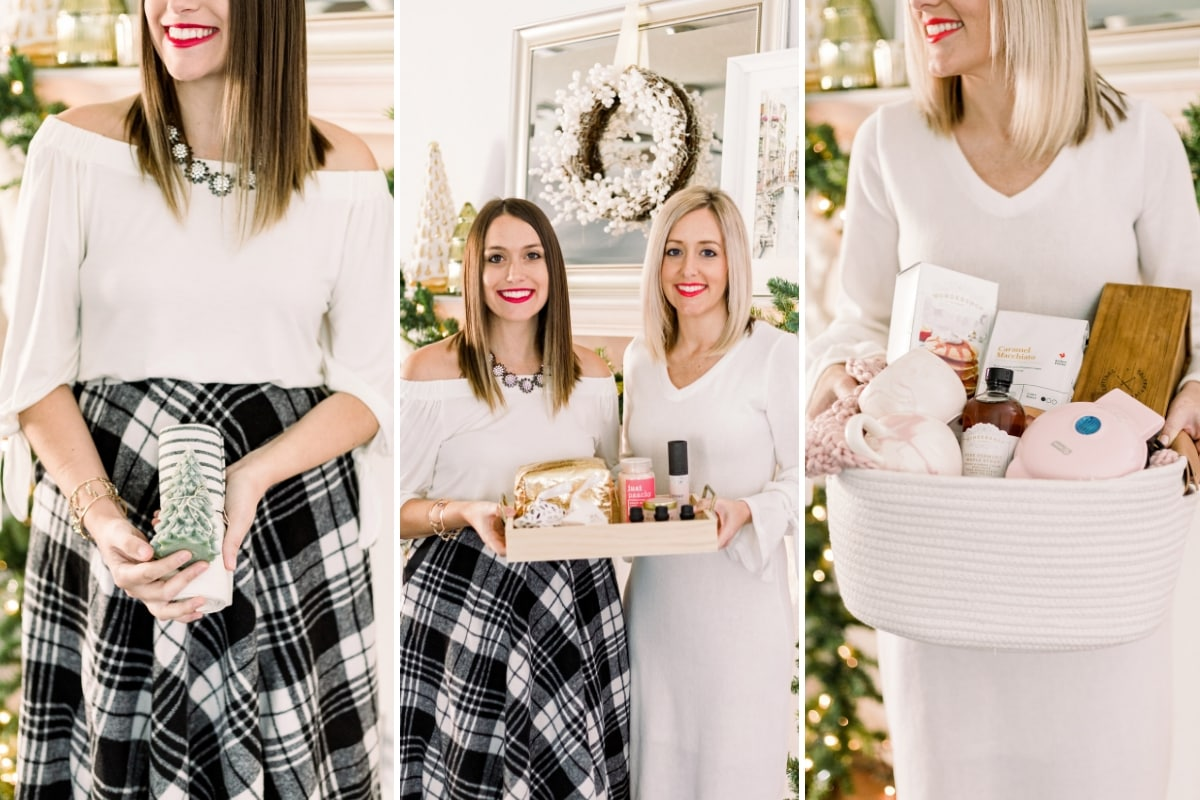 blonde and brunette females holding holiday gift sets in front of christmas decorations