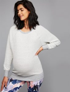 white and grey maternity sweater