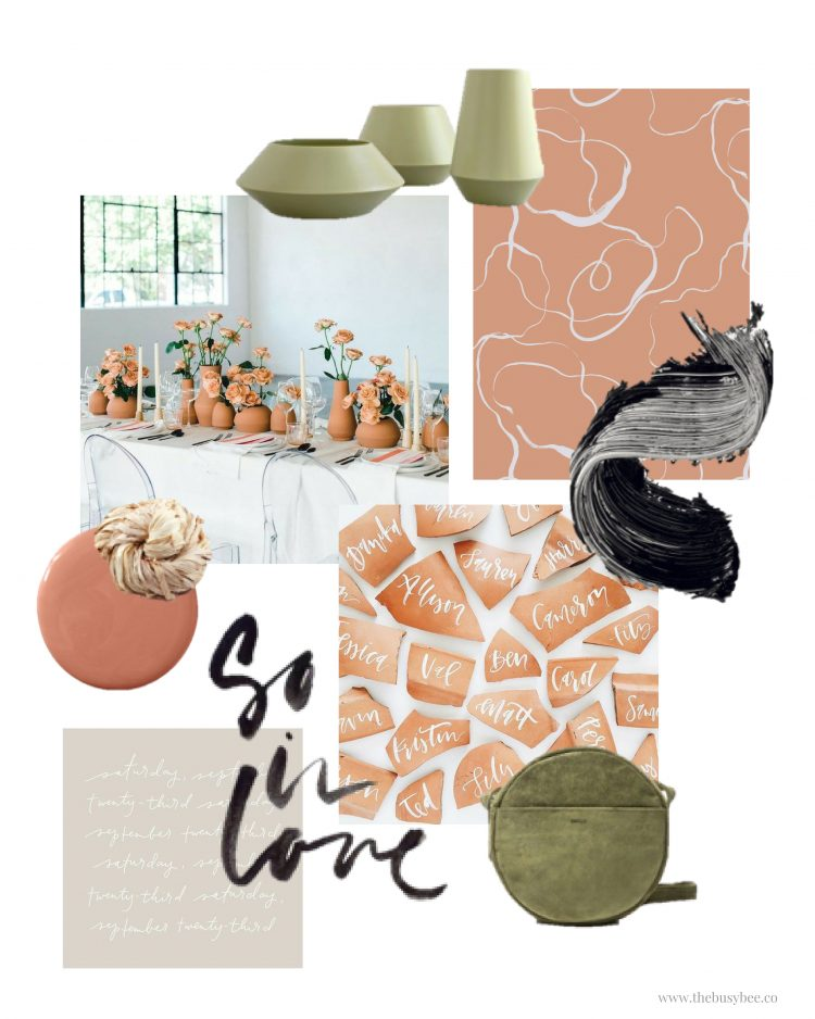 mood board monday volume one inspiration board terra cotta olive green and black