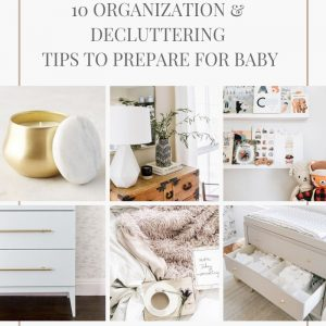 gold antropologie candle, wooden dresser with vase and white lamp, bookshelves in nursery with baby books, white dresser gold pulls, stock image with cozy blush blankets, gray dresser with gold knobs