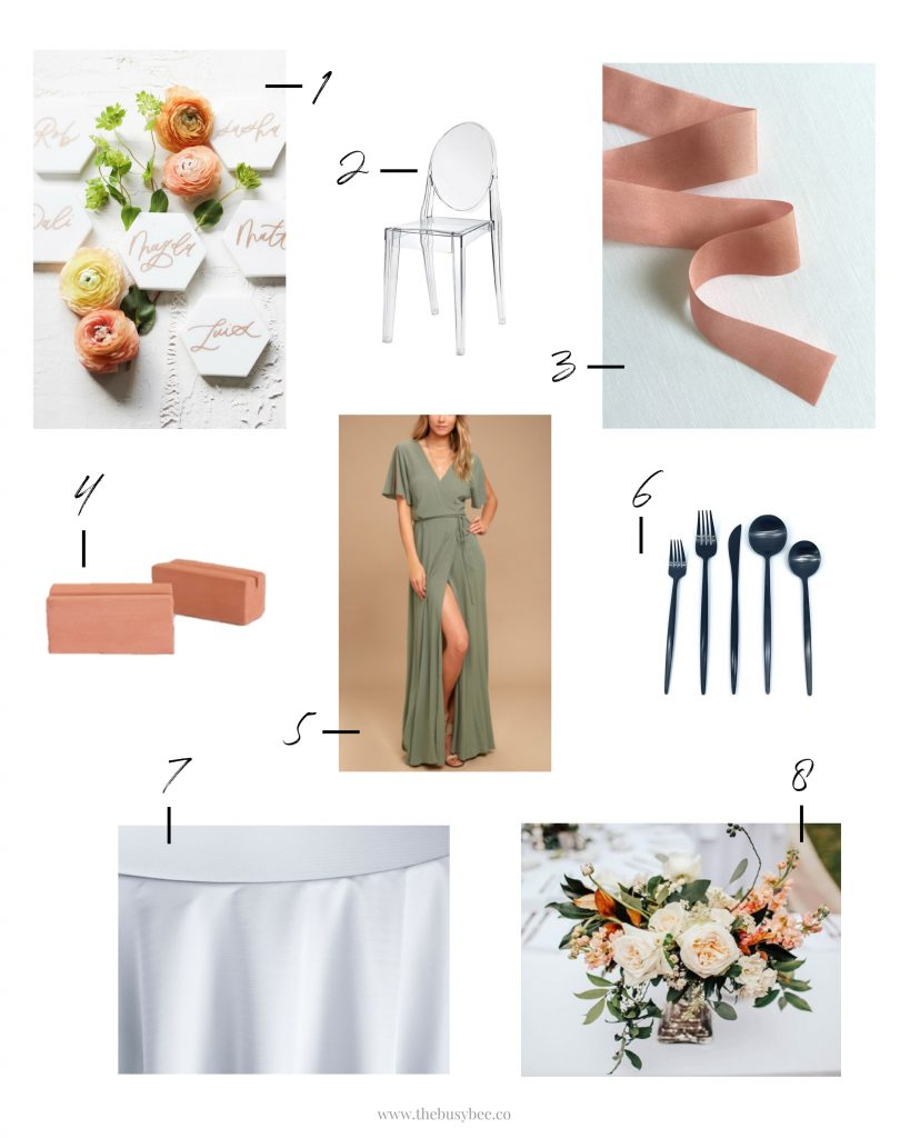 terra cotta olive green and black wedding inspiration board
