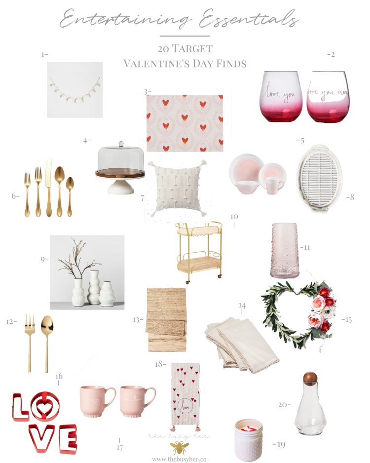 Entertaining Essentails Collage including 20 Target Valentine's Day Finds