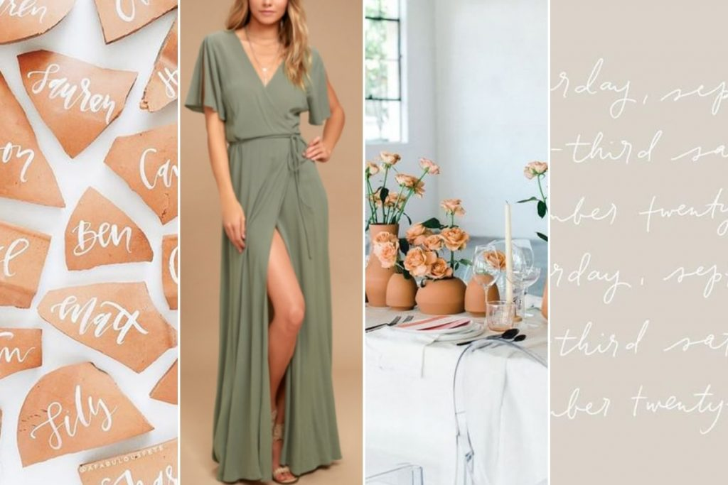 terra cotta and olive green moodboard