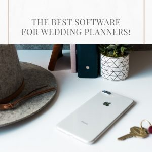 the best software for wedding planners, stock image of hat on white desk with apple iphone