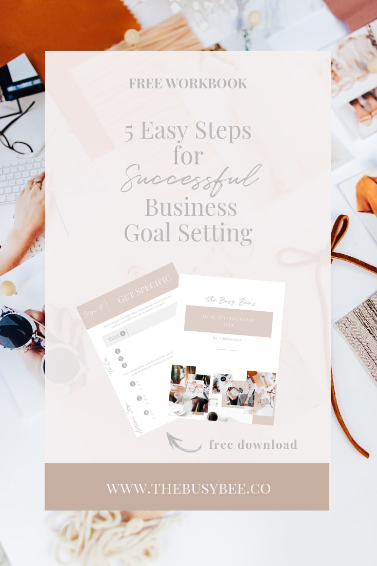 graphic for free workbook about 5 easy steps to successful business goal setting