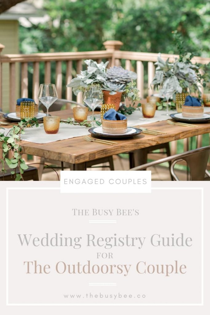 wedding regsitry guide cover for the outdoorsy couple with a photo of an outdoor wood table set with neutral plates and succulent floral arrangements