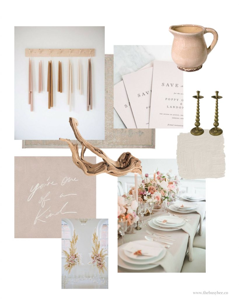 blue bone and white mood board collage