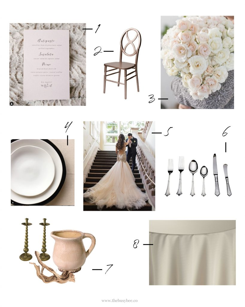 white blush and mood board collage for wedding inspiration