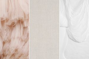 collage of three inspirational photos of blush tulle skirt bone linen and white textured paint