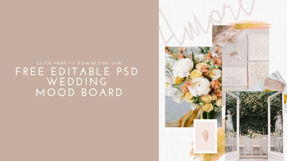 blog image with blush and yellow wedding mood board for free downloadable psd wedding mood board