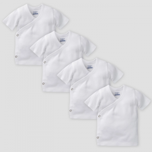 Gerber Baby Organic Cotton 4pk Short Sleeve Side Snap Shirt