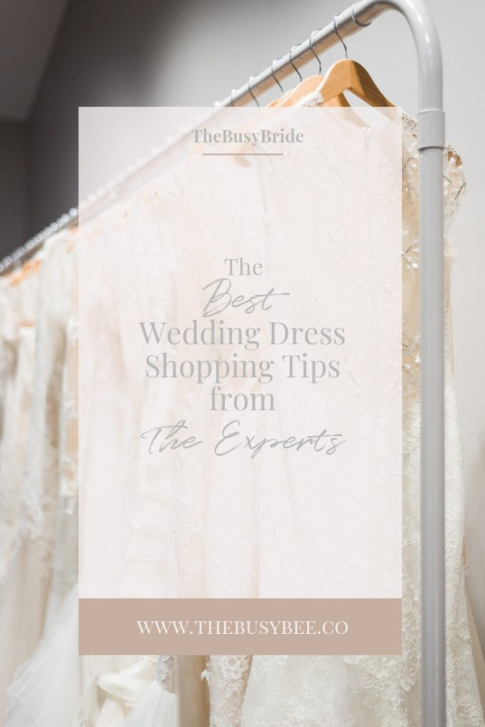 rack of designer wedding dresses with text overlay that reads the best wedding dress shopping tips from the experts