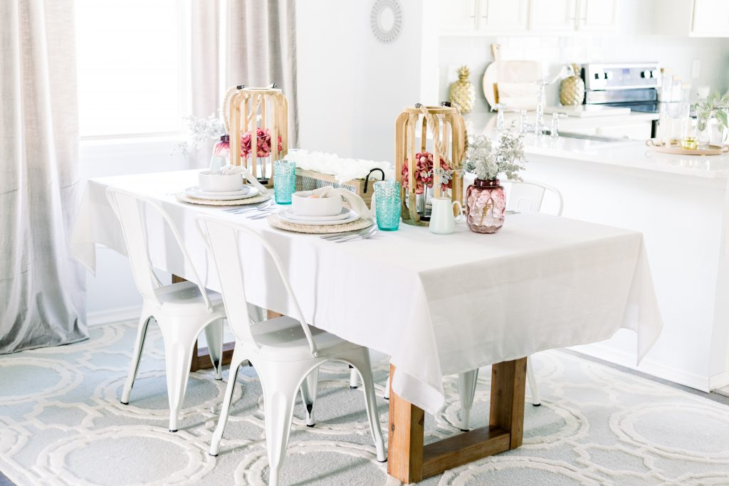 easter table setting using old time pottery dinnerware