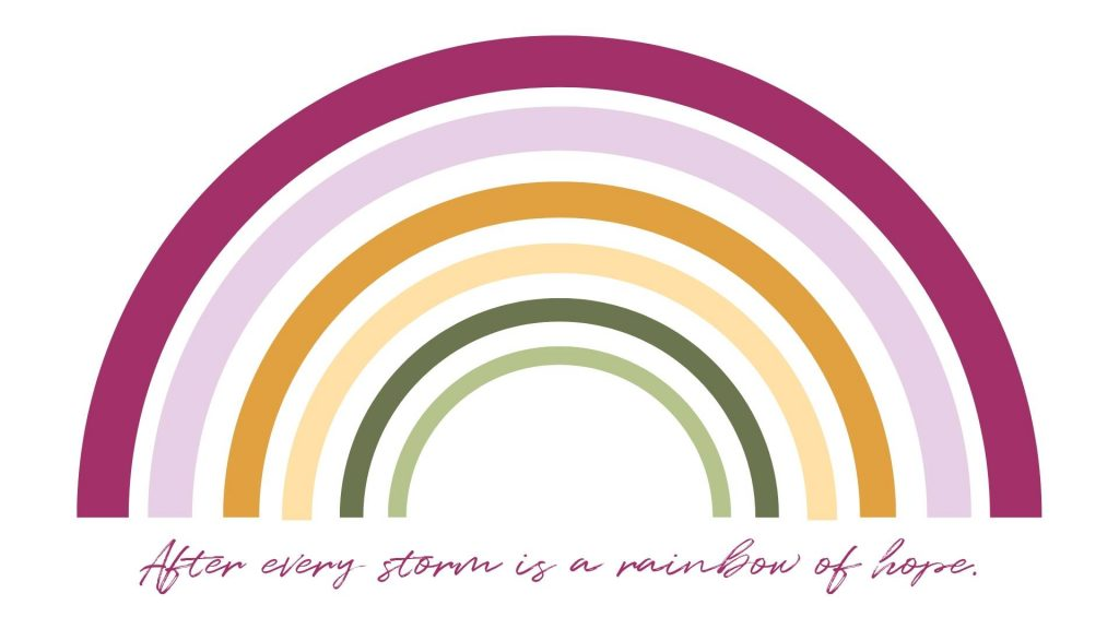 Earth tone rainbow digital baby shower invite with quote after every storm is a rainbow of hope.