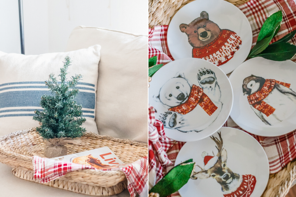 wicker tray on tan couch with lifestyle magazine and mini christmas tree inside and close up of holiday animal appetizer plates