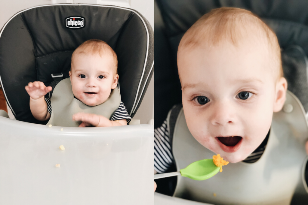 7 month old boy eating sweet potatoes from green baby spoon