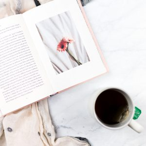 overhead shot of book and cup of tea
