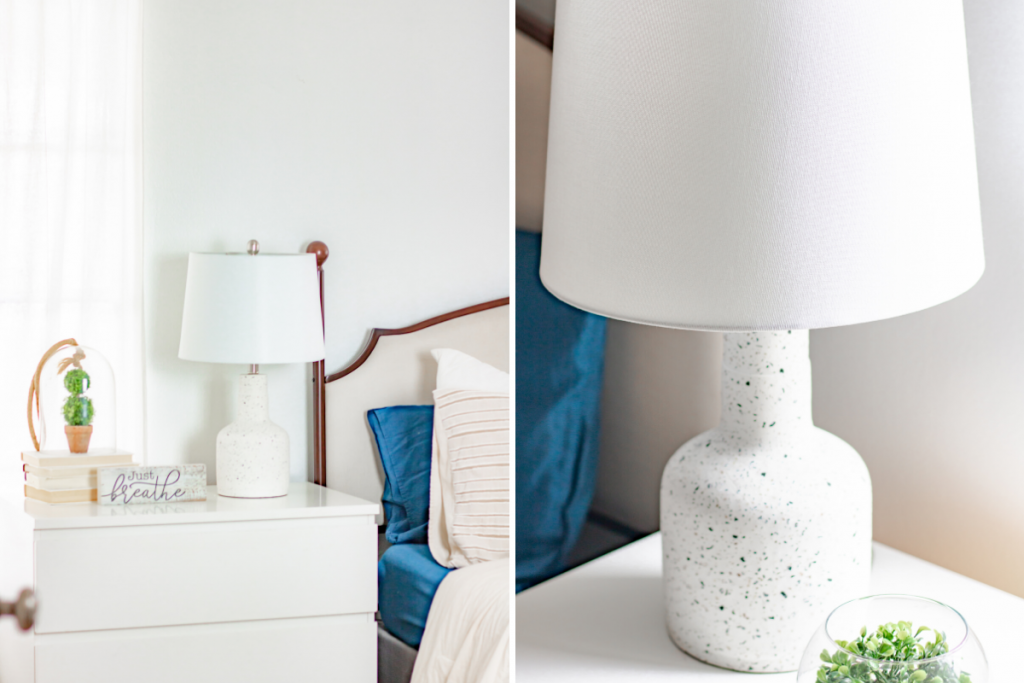 white lamp on end table