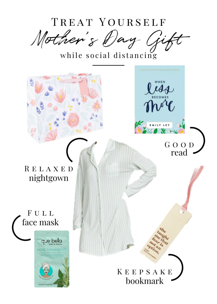 A Mother's Day gift guide including a book, bookmark, nightgown and full face mask