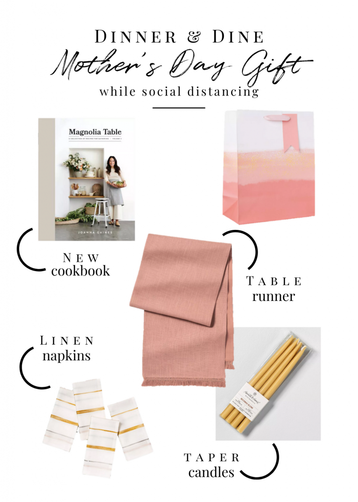 A Mother's Day gift guide including a cookbook, table runner, dinner napkins and taper candles