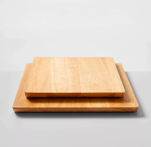 set of two nonslip wood cutting boards