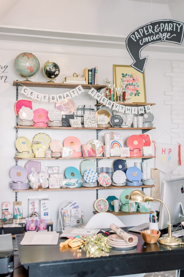 gift shop display of paper party goods