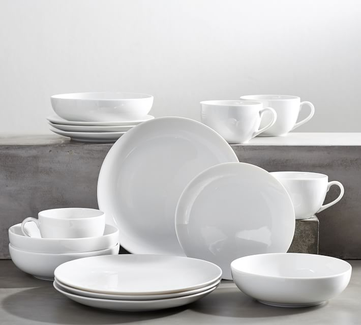 Pottery Barn Classic Coupe Porcelain 16-Piece Dinnerware Set - The Busy Bee