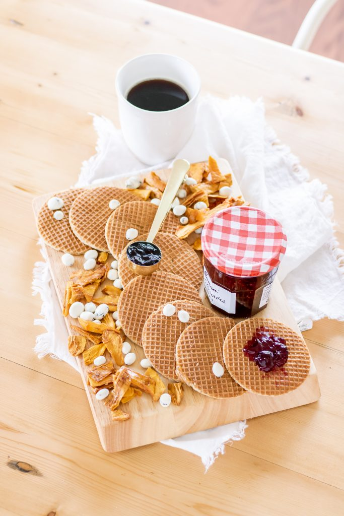 Mother's Day gift idea during quarantine breakfast board with Stroopwafels, Peeled Snacks and yogurt covered raisins