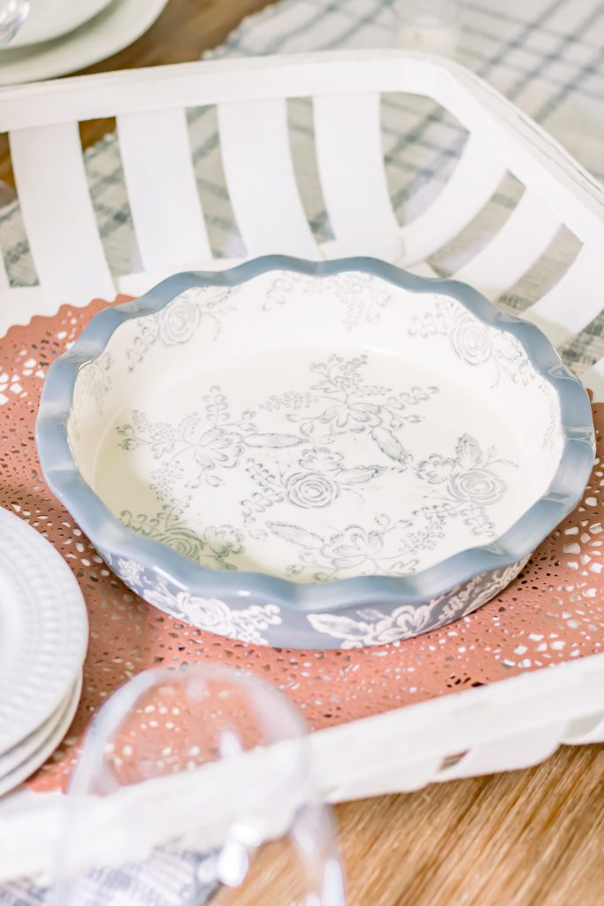 Pale blue and off white floral pie dish