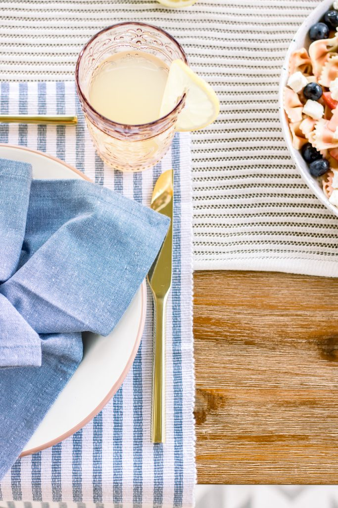 blue and white table linens from Target for an Intimate Fourth of July Soiree