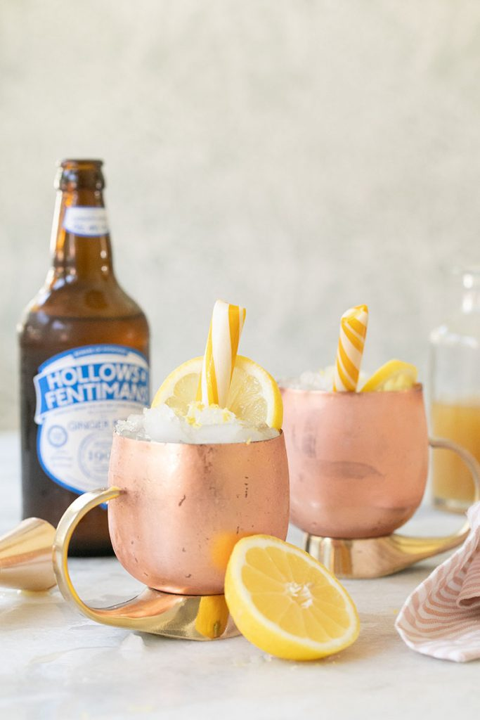 Smoky Lemon Moscow Mules in copper mugs