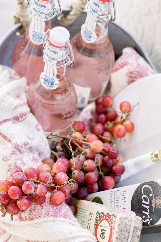 Sparkling French soda and fresh grapes for a unique summer hostess gift